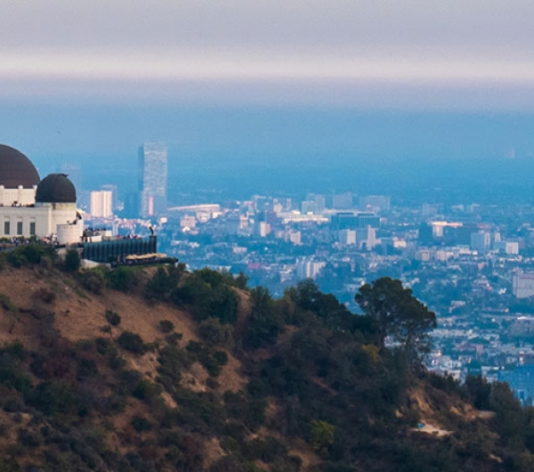 sky view LA and Griffith Observatory on the left